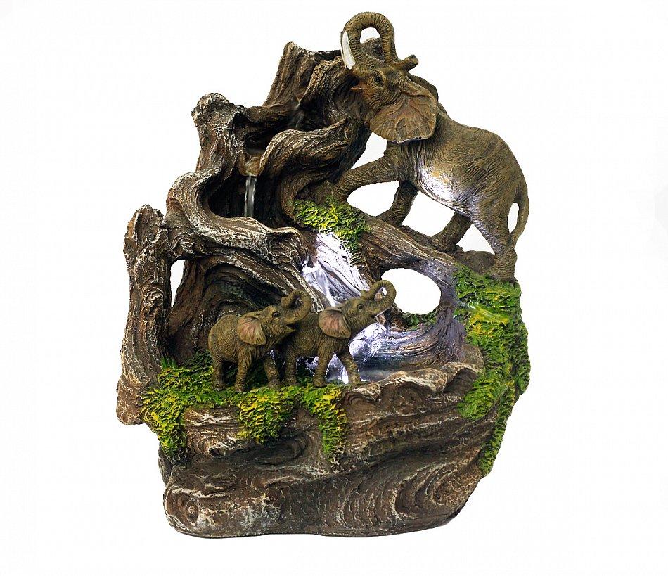 LOFAMI Zimmerbrunnen Elefant-Innenbrunnen-Tischplattenfeng Shui Kugel LED beleuchtet Inneneinrichtung-B/üro-ge/öffnete Tischplatteneinrichtungsgegenst/ände Zimmerbrunnen