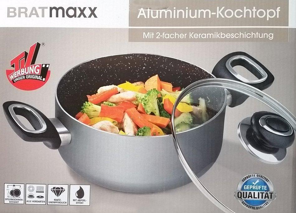 bratmaxx aluminium kochtopf topf mit deckel durchmesser 24cm keramikbeschichtung ebay. Black Bedroom Furniture Sets. Home Design Ideas