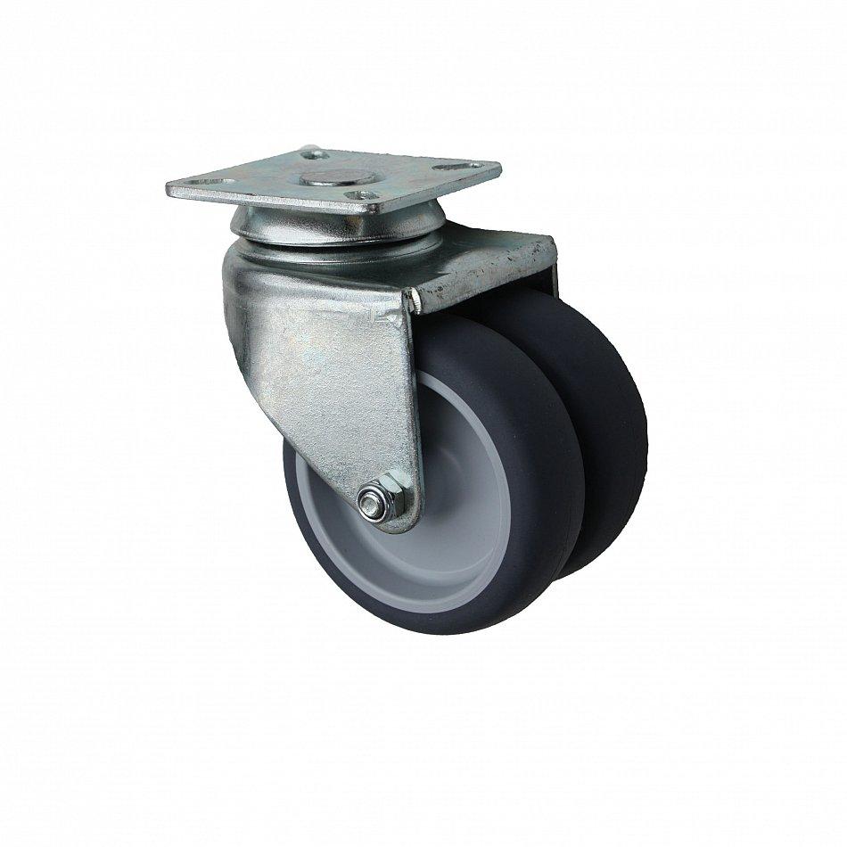 Apparate-Doppelrolle 75mm Platte Gummi 100kg Rolle NEU