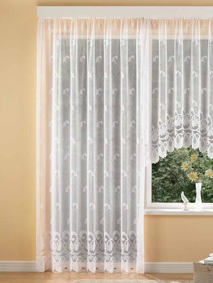 jacquard qualit t fertiggardinen seitenschal querbehang blumenfenster stores ebay. Black Bedroom Furniture Sets. Home Design Ideas