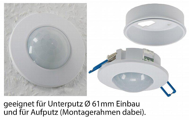 360° Decken Auf oder Unterputz Bewegungsmelder nur 37mm flach LED ok 1-800W IP20
