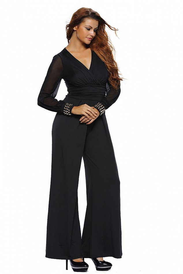 overall damen jumpsuit einteiler hosenanzug schwarz elegant anzug festlich party ebay. Black Bedroom Furniture Sets. Home Design Ideas