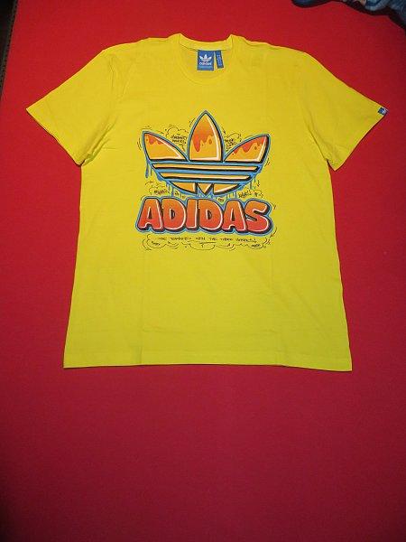 Details about ADIDAS Originals Herren T Shirt Old School Trefoil Graffiti gelb Retro S NEU