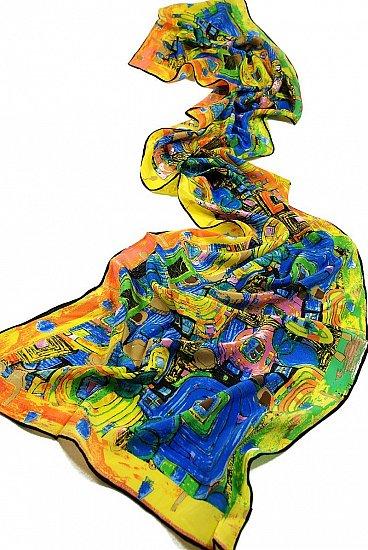 P896 - 160cm Malerei Kunstdruck Schal Jugendstil Gustav Klimt Seidenschal- Fregio_Stoclet (bunt) …