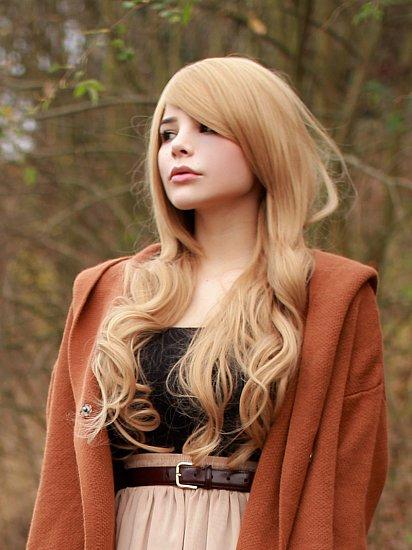 dunkel Leinen Blond 70cm lang Perücke mit sanften Wellen in den Spitzen C507