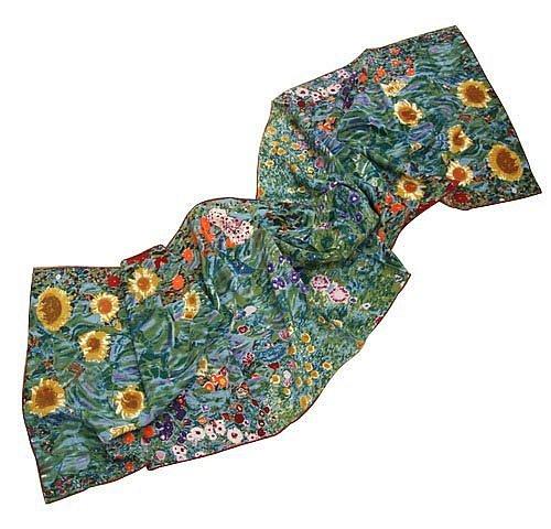 P929 - 160cm Malerei Kunstdruck Schal aus 100% Seide Gustav Klimt - Bauerngarten