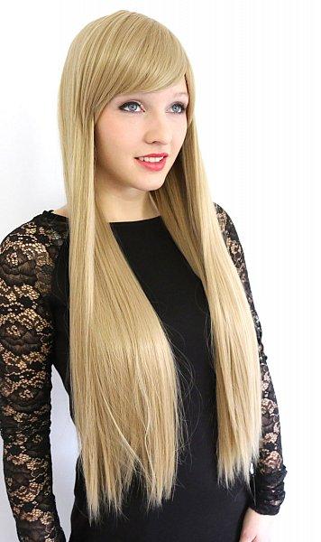 lange Perücke langhaar caramelblond Blond glatt Pony Volumen Wig C1883