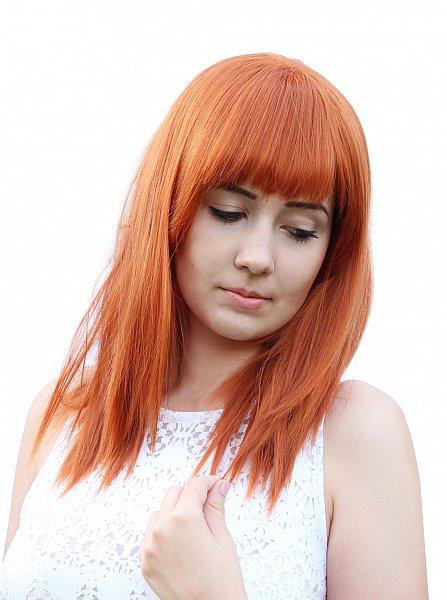 C1297 glatte mittellange Perücke Kupferrot orange Pony leicht gestuft Wig