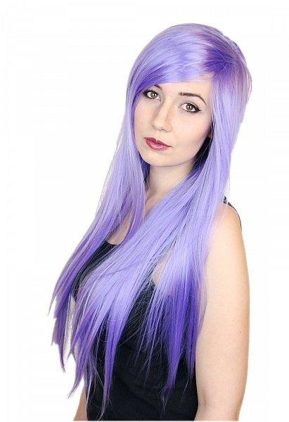 80cm glatte lange Perücke märchhafter Farbe hell lila violett Wig C635