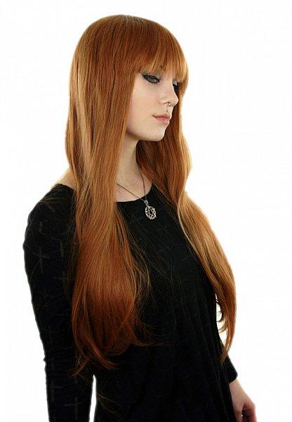 gerade BOB Pony glatt 75cm lange Haare Alltag Perücke orange braun C1109
