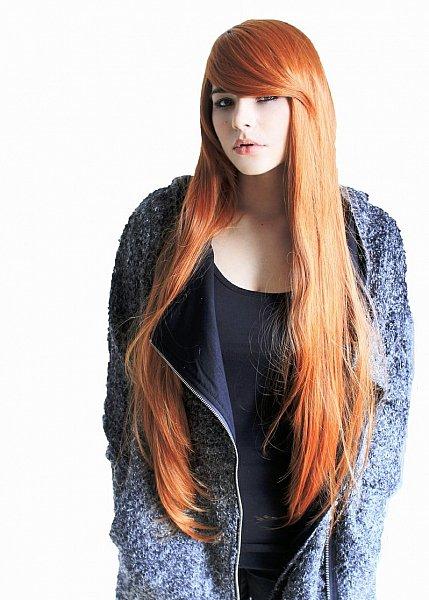 lange glatte Volumen Event Perücke kupfer rot orange langer Pony Wig C360