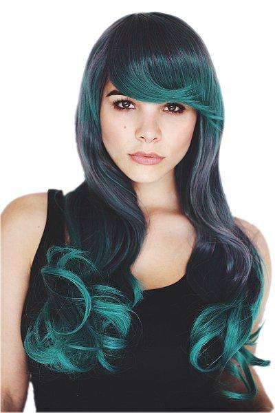 lange Event Perücke Grau Pfau Grün zwei Farben Volumen Trendfrisur Wig C913