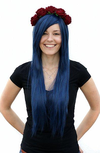 lang 80cm glatt Theater Party Perücke dunkel blau schwarz/blau Wig C942