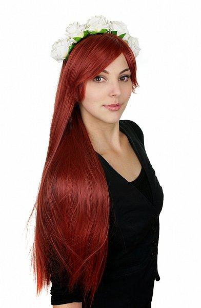 lange glatte Perücke 80cm dunkel rot Volumen Wig Cosplay hitzefest wig C488