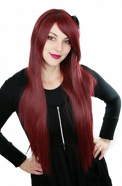 80cm langhaar glatt hitzefest Perücke dunkelrot weinrot burgundy rot Wig C918