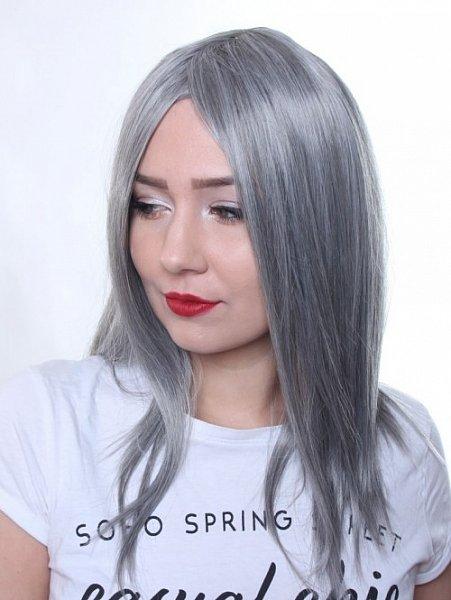 lange Perücke Wig glatt Sleek-Look mittellange haare Alltag Grau C1146