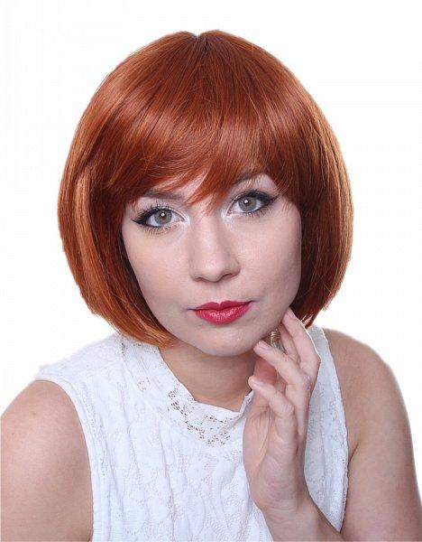 Perücke Kurzhaar Bob hitzebeständig glatt Cosplay Statikfreie Wig orange C531