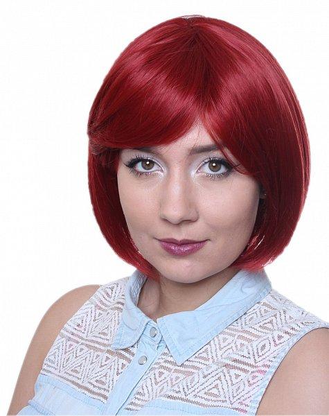 Perücke BOB Schnitt glattes Haar hitzebeständig Statikfreie Perücke rot C545