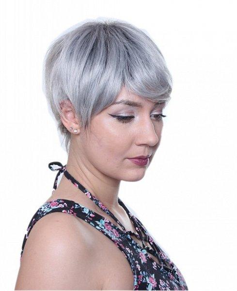 Perücke Kurzhaar gestuft Ombré schwarzer Haaransatz Cosplay Wig Silber C1521
