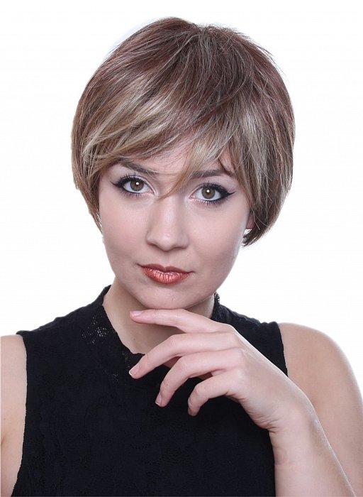 C128 Perücke kurze glatte Haare braun blond gesträhnt gestuft Alltag Wig