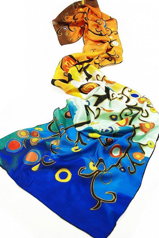 P170 - 160cm Seidenschal Gustav Klimt Gemälde Stoclet-Fries Lebensbaum (bunt)