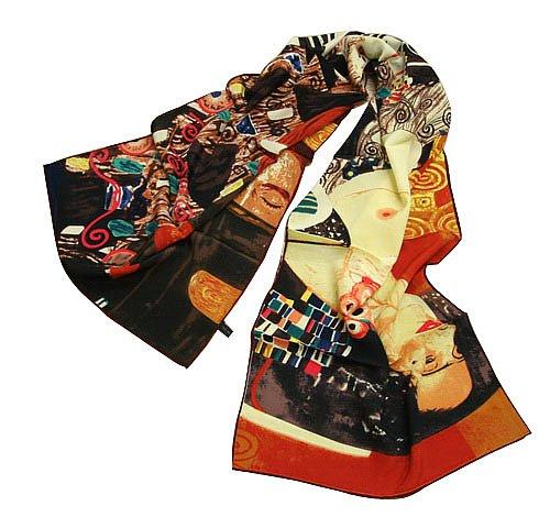 P872 - 160cm Malerei Kunstdruck Schal Seide Seidenschal Gustav Klimt - Judith