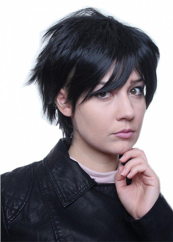 Reborn Hibari kurz gestuft schwarz Cosplay Party Wig Perücke C430