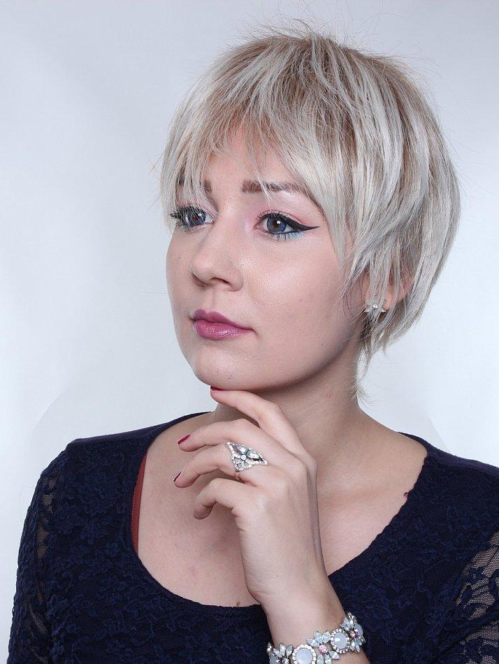 Kurze Perücke Stufenschnitt Pixie Fransig Wig Strähnen Gesträhnt