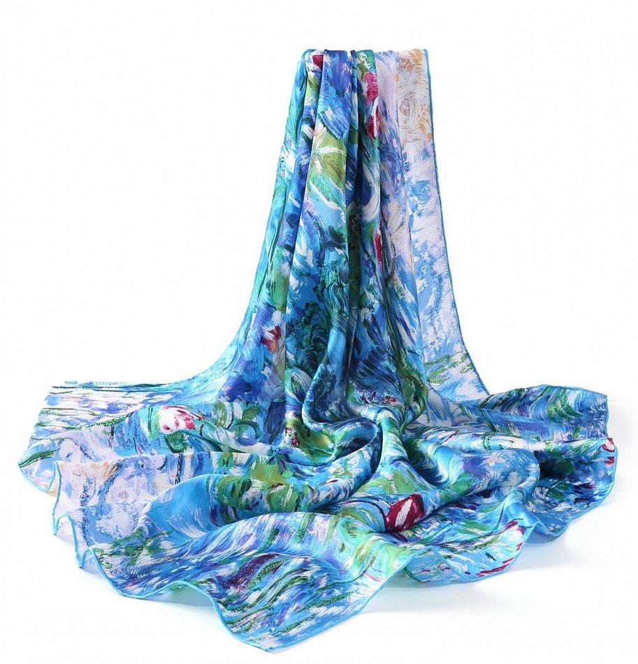 P773 - 90cm reine Seide Kunstdruck Malerei Tuch Claude Monet Wasserlilien