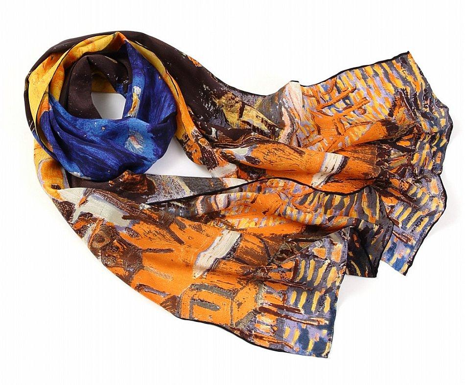 P834 - 160cm Malerei Kunstdruck Schal aus reiner Seide van Gogh Caféterrasse