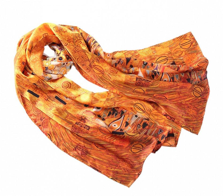 P221  180cm Seidenschal Jugendstil Gutav Klimt goldene Stocletfries Elemente