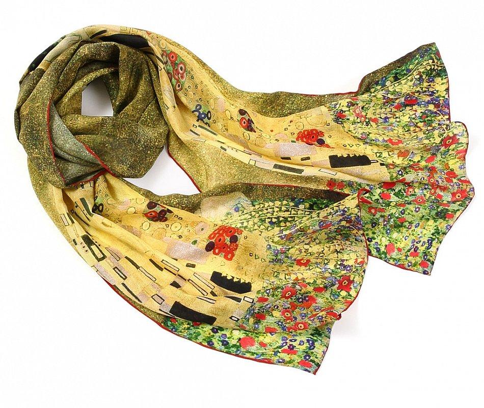 P760 Gustav Klimt 2012 der Kuss Kiss (overall) 160cm Seidenschal Jugendstil