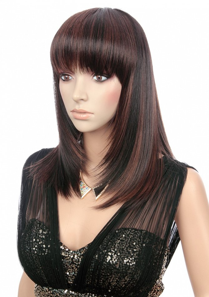 Antistatisch Perücke mittellang glatt schwarzbraun braun gemischt Wig C721