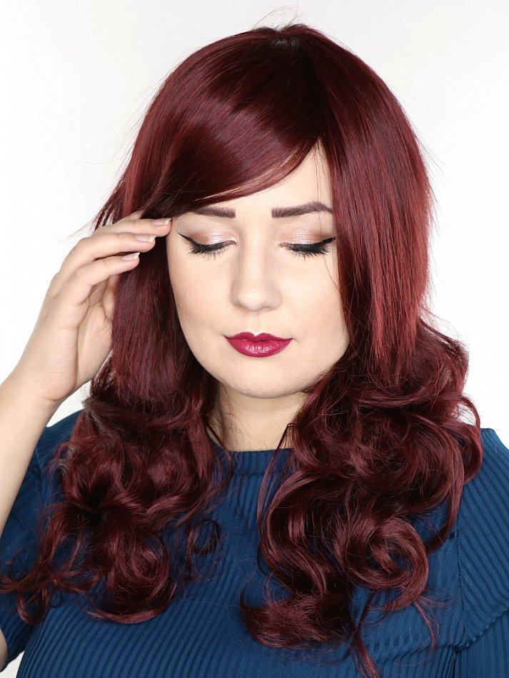 dunkel-rot Bordeaux braun langhaar Perücke Gelockt Welle Cosplay wig C1201