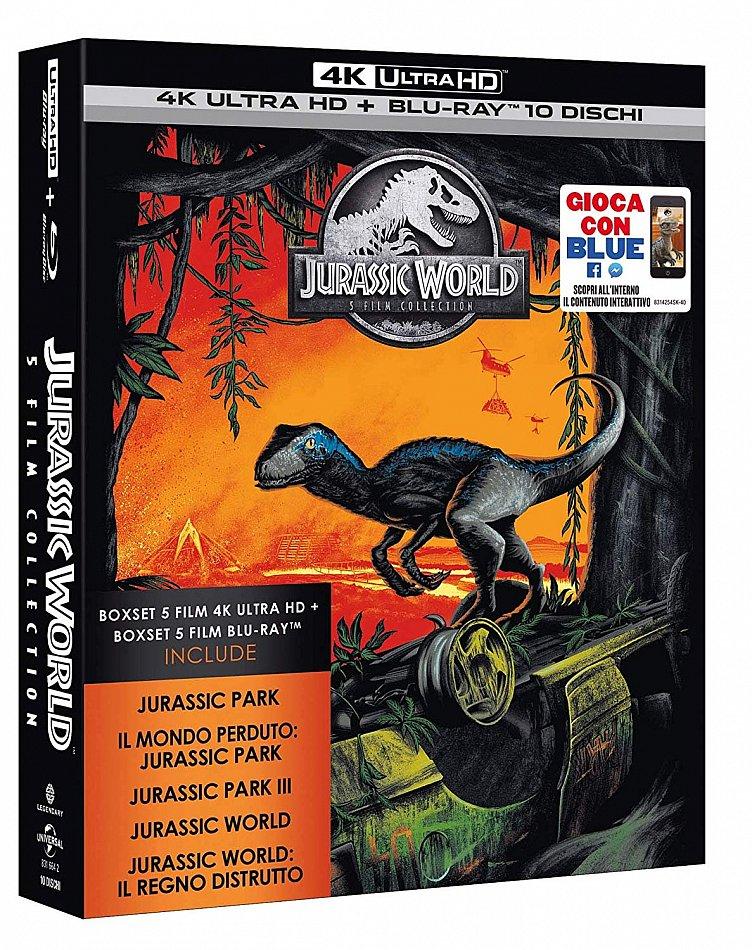 Jurassic 5 Movie Collection Jurassic Park-Trilogie (1-3) + Jurassic World 1+2 [4K Ultra HD+Blu-Ray] 10-Disc Box-Set