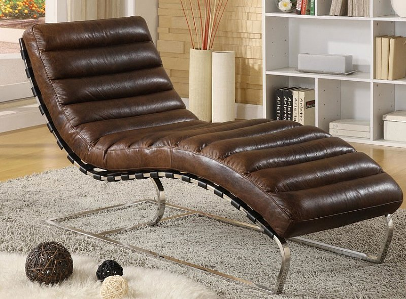 Chaise real leather vintage relax lounger brown recamiere for High chair net catcher