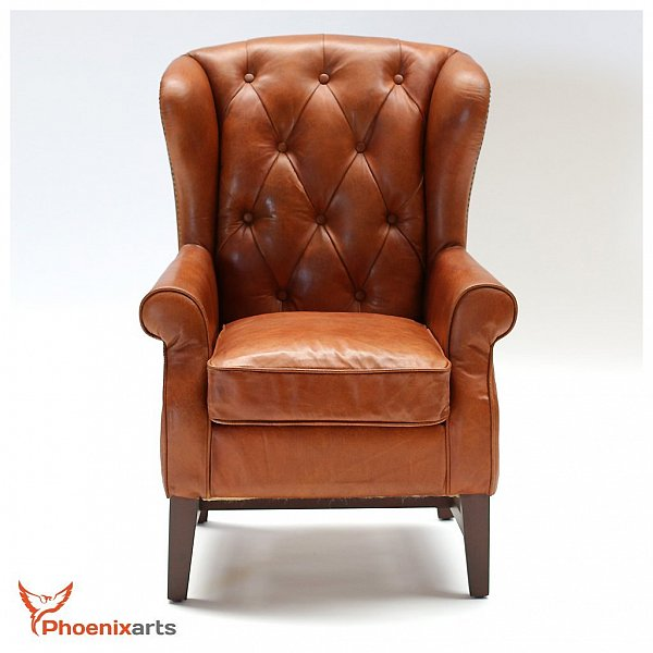 chesterfield vintage echtleder ohrensessel ledersessel braun antik sessel 546 721246113216 ebay. Black Bedroom Furniture Sets. Home Design Ideas