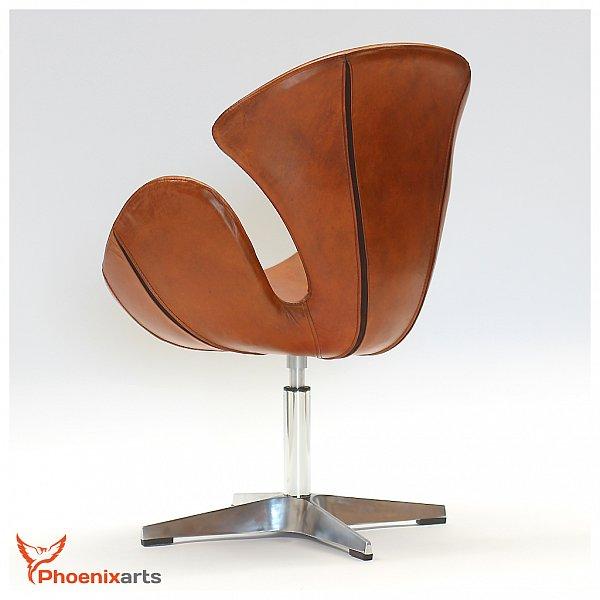 Cuir Veritable Retro Fauteuil Vintage En Marron Design Salon Chaise Pivotante