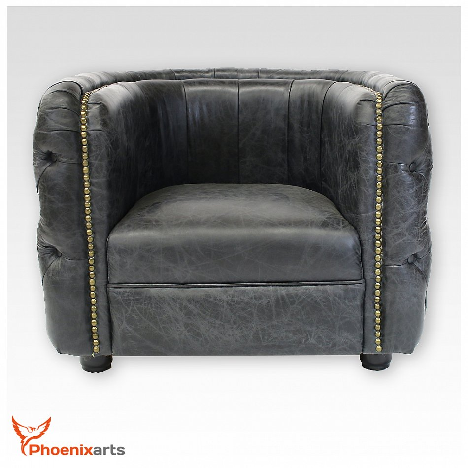 Vintage real leather chesterfield armchair black design for High chair net catcher
