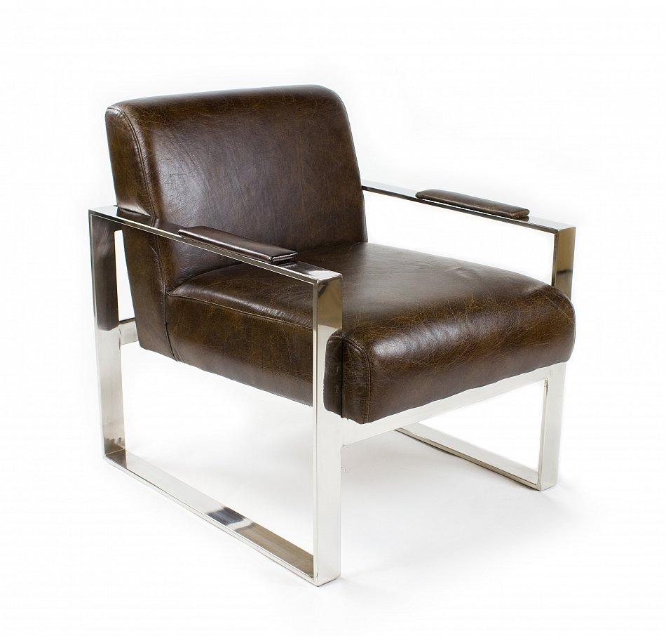 vintage echtleder b ro sessel edelstahl ledersessel design lounge stuhl 445 ebay