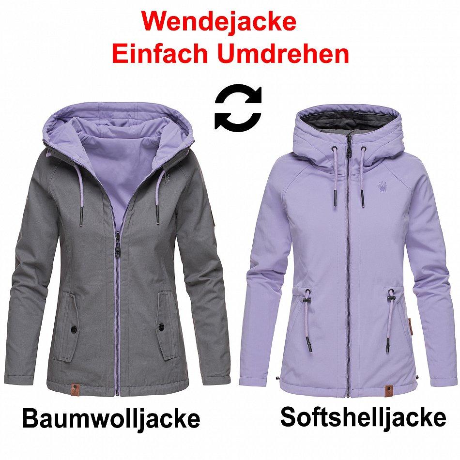Marikoo Damen Softshell Jacke Wendejacke 2 in 1 Outdoor Kapuze B691