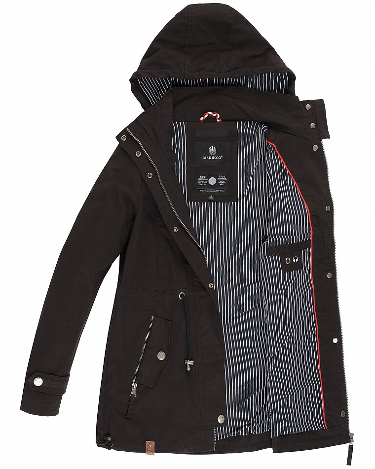 Details zu Marikoo Damen Jacke Frühling Übergangsjacke Print Parka Mantel Kapuze Nyokoo NEU