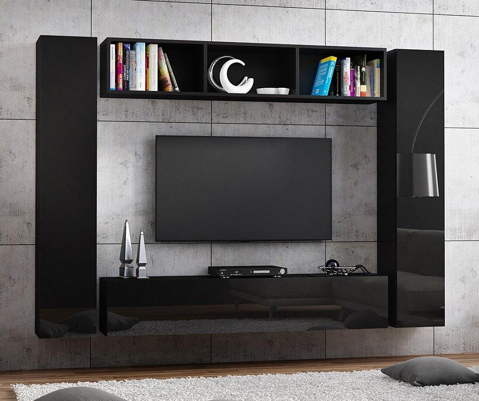 tv lowboard h ngeboard hochglanz board schrank tisch wei schwarz 160cm l nge ebay. Black Bedroom Furniture Sets. Home Design Ideas