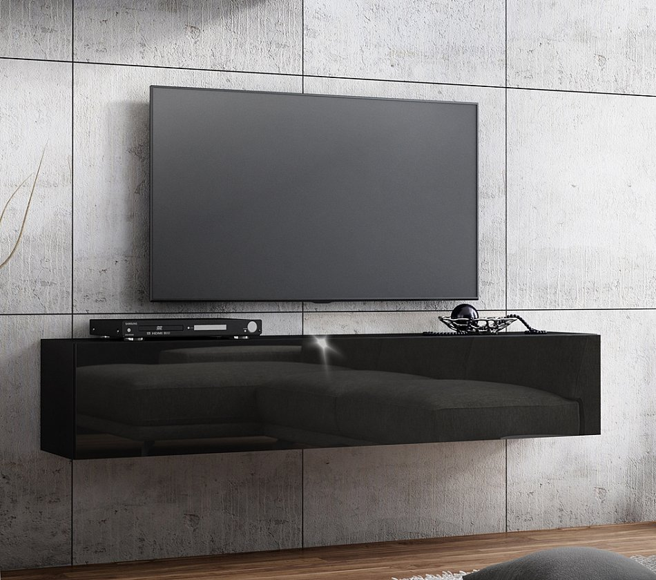 banc tv lowboard suspendu meuble tv longueur 160cm front haute brillance ebay. Black Bedroom Furniture Sets. Home Design Ideas