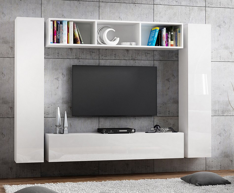 banc tv lowboard suspendu meuble tv longueur 160cm front haute brillance ebay. Black Bedroom Furniture Sets. Home Design Ideas
