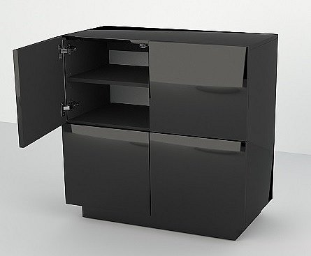 kommode schrank steh h nge kommode sideboard hochglanz 80x80x40 cm mit f en ebay. Black Bedroom Furniture Sets. Home Design Ideas