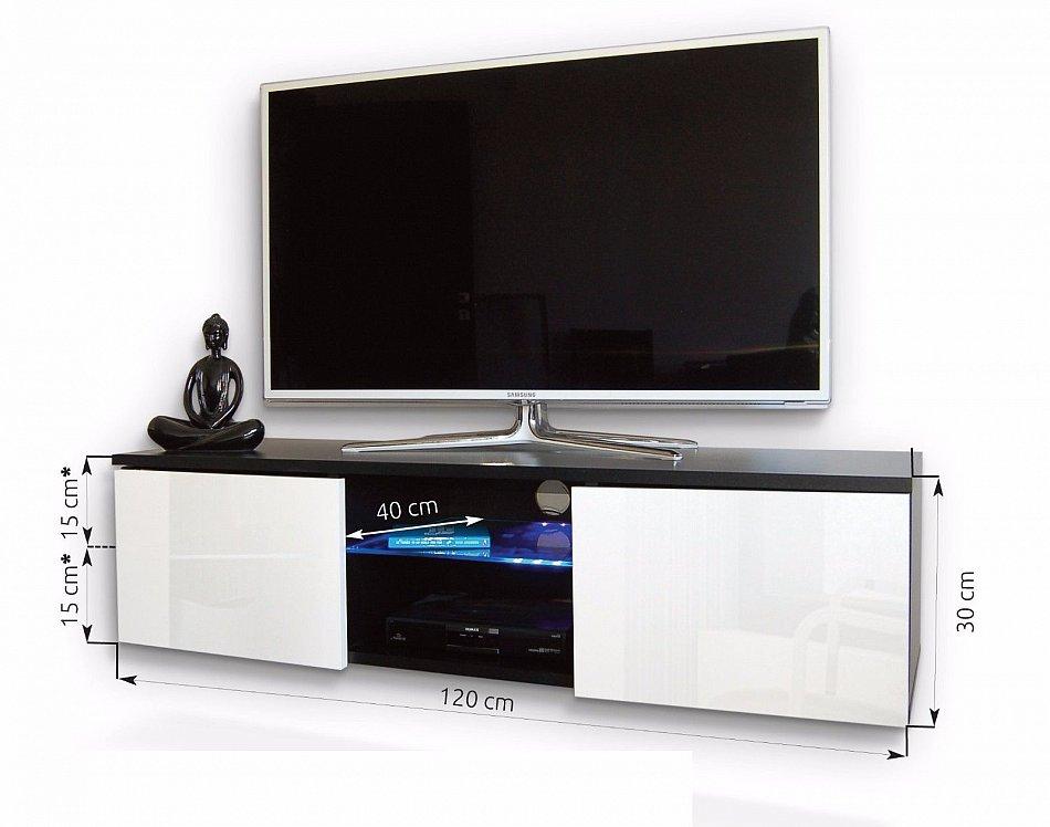 tv lowboard m bel h ngeboard schrank in hochglanz 120cm mit rbg led beleuchtung ebay. Black Bedroom Furniture Sets. Home Design Ideas