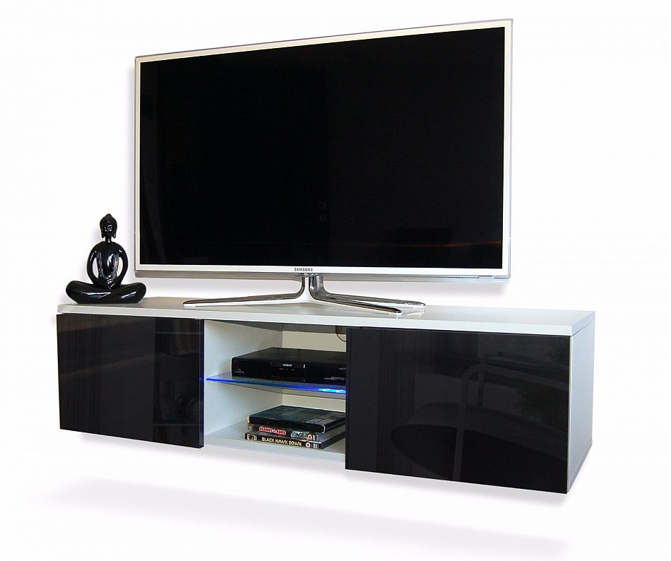 tv lowboard m bel h ngeboard schrank mit hochglanz 120cm. Black Bedroom Furniture Sets. Home Design Ideas