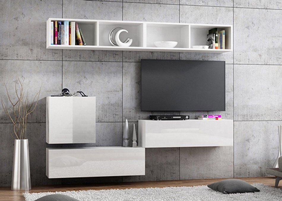 banc tv lowboard suspendu meuble tv longueur 105 cm front haute brillance ebay. Black Bedroom Furniture Sets. Home Design Ideas