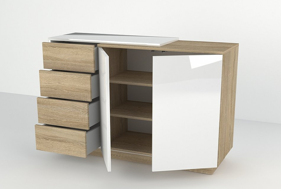 kommode schrank sideboard hochglanz h ngenden 120x90x40 cm anrichten wei ebay. Black Bedroom Furniture Sets. Home Design Ideas